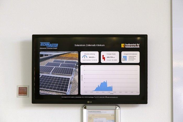 Visualisierung einer Photovoltaikanlage mit 190 Modulen auf dem Zollernalb Klinikum Balingen